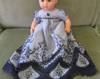 383819a3950 OOAK blue and white stripe lace doll dress. Victorian