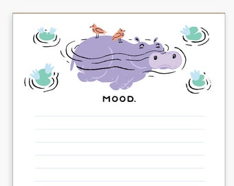 Hippo Relaxing Mood Notepad, Grocery List, Shopping List