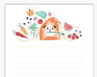 Guinea Pig Veggies Notepad, Grocery List, Shopping