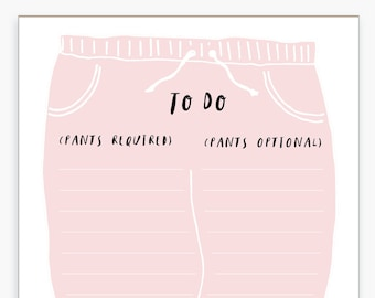 Funny Pants Notepad, Sweatpants, No Pants, Illustrated, Funny, To Do List, Memo Pad, Desk Office Supplies, List Pad, Pink, Blush, Note Pad