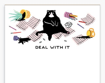 Deal With It Naughty Cat Notepad, Desk, Messy, Funny, Kitten