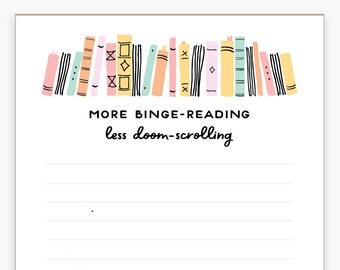 Binge-reading Notepad, Books, Bookshelf, Plants, Desk Supplies