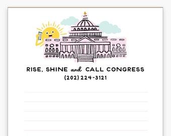 Call Congress Notepad, Political, Activism, Progressive