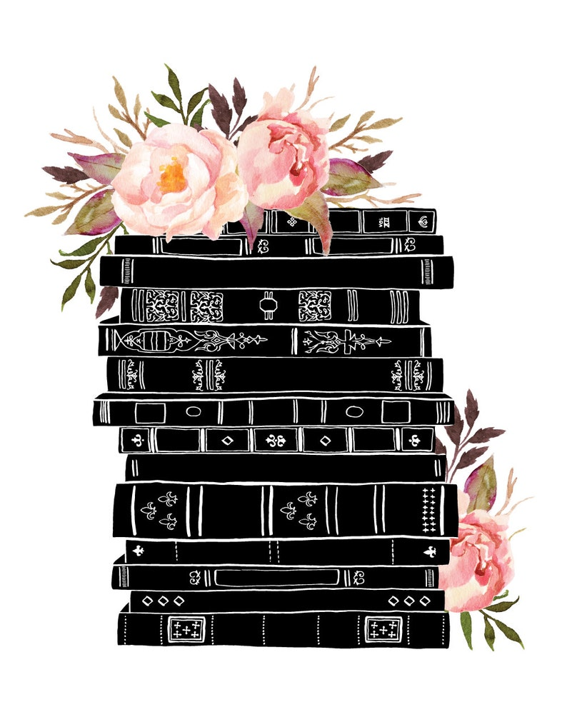 Books and Flowers Black Pink Watercolor Botanical / 14 x11 image 1