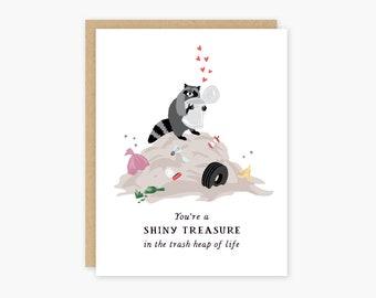 Shiny Treasure Raccoon Love Valentine Thank You Card
