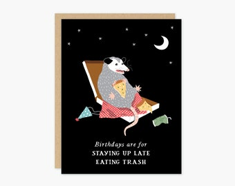 Birthday Possum Trash Card