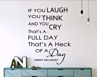 Jimmy Valvano Vinyl Decal If You Laugh you Think and you Cry/North Carolina State Basketball Coach Jimmy V/Jimmy Valvano