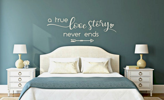 romantic wall decals master bedroom vinyl love story decal | etsy