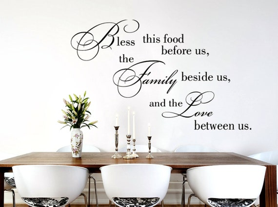 Bless This Food Wall Decal Dining Room, Dining Room Wall Decals