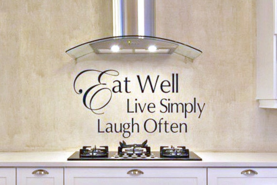 kitchen wall decal eat well live simply laugh often kitchen | etsy
