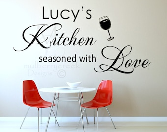 Personalized Kitchen Name Decal, Kitchen Decor, Custom Kitchen Signs, Kitchen Seasoned with Love, Wall Decals for Kitchen, Kitchen Decals