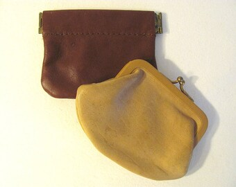 Pair Of Small Vintage Leather Change, Coin Purses