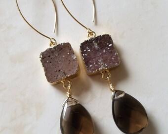 Smoky Quartz Earrings - Druzy Earrings - Drop earrings - Long Gold Earrings - Gold Filled Earrings  - Agate Jewelry - Druzy Jewelry