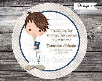 Boy First Communion favor tags, Confirmation, Religious, Set of 12 Personalized Favor Tags, Stickers, Party Favors, mi primera comunion