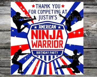 American Ninja Warrior favor tags, American Ninja Warrior  Stickers, ninja labels, ninja personalized tags, american ninja warrior Birthday