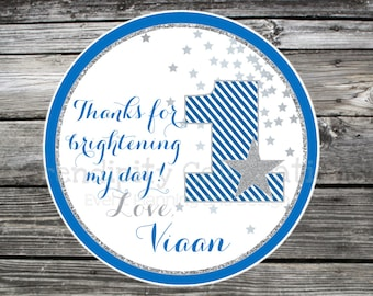 twinkle twinkle little star favor tags, star stickers, blue silver, star tag birthday, baby shower, personalized tags, personalized stickers