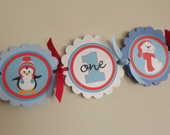 Penguin Polar Bear High Chair Banner -Photo Prop -High Chair Bunting -1st Birthday -Small Banner -Penguin Polar Bear Onederland