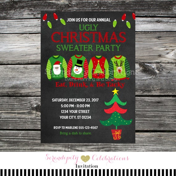 Ugly Christmas Sweater Party Invite.Ugly Christmas Sweater Party Invitation Tacky Christmas