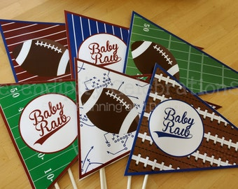 Flag Centerpieces, Football, Sports Pennants, Photo Prop, Baby shower, Birthday, Football Centerpiece, Football party, sports banquet