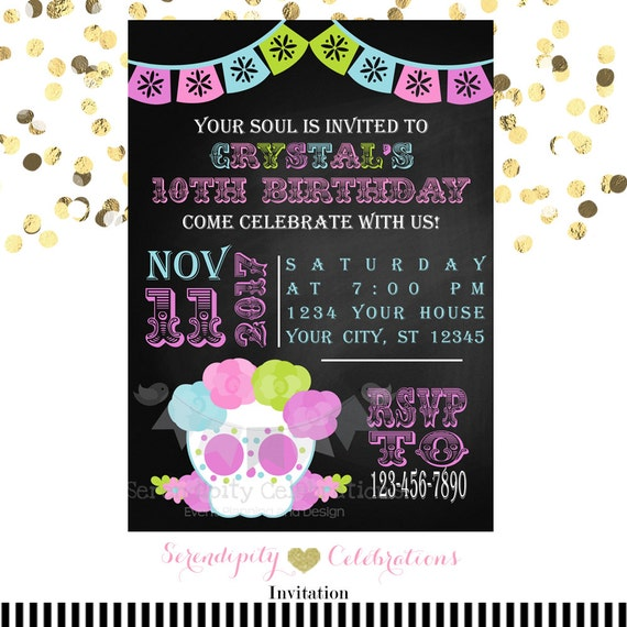 Sugar Skull Invitation Chalkboard Invitation Printed Invitation