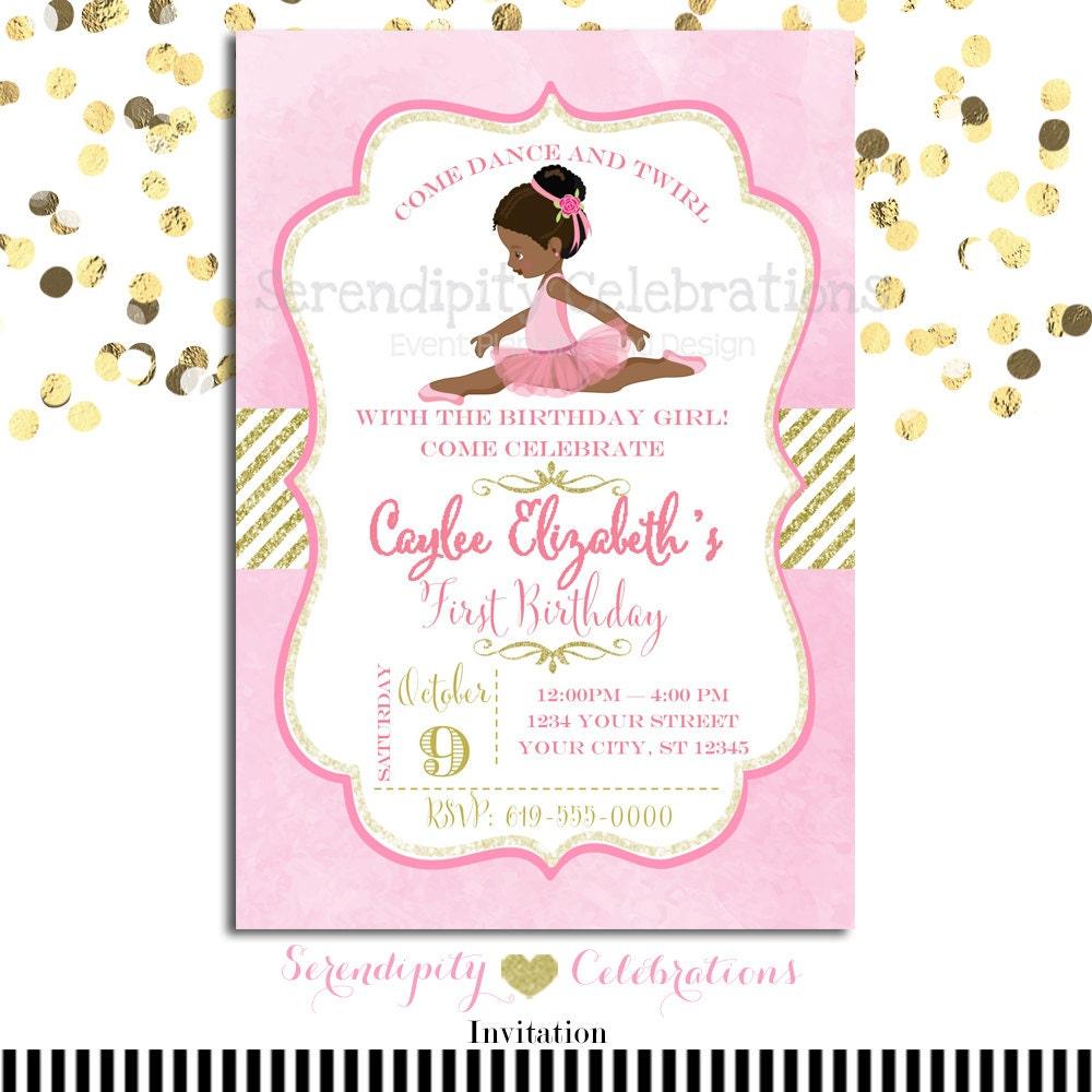 Ballerina Birthday Invitation Baby Shower Invitation | Etsy