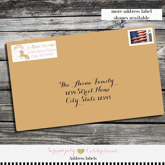 unicorn address label return address label envelope mailing label