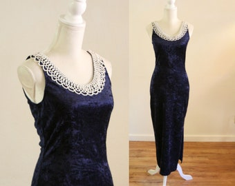 e067e3d212a Navy Blue Velvet Dress with Peal Neck Collar   90s Sleeveless Maxi Dress  with Side Slit by All That Jazz   Size Medium