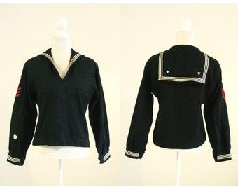 9428bda5f21bb3 Naval Clothing Depot Wool Jumper   Navy Blue Black Cracker Jack Sailor  Jacket with Clean Tag