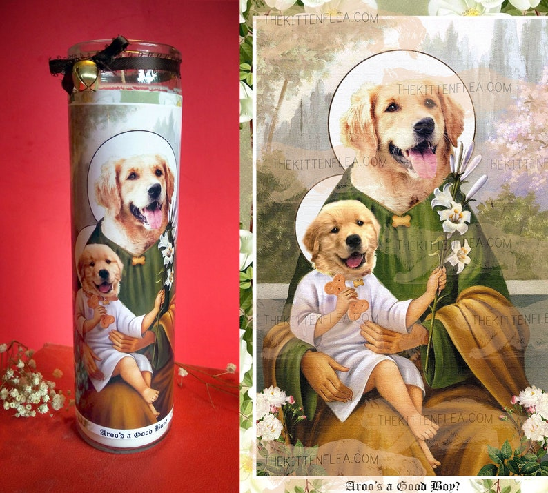 Golden Retriever Prayer Candle with Jingle Bell Puppy Saint image 0