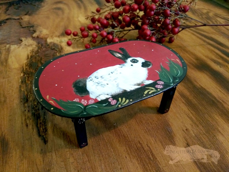 White Rabbit Doll House Table Hand Painted Furniture image 0