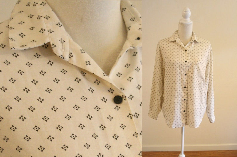 Cream Print Dolman Sleeve Blouse by Casey & Max / Black and image 0
