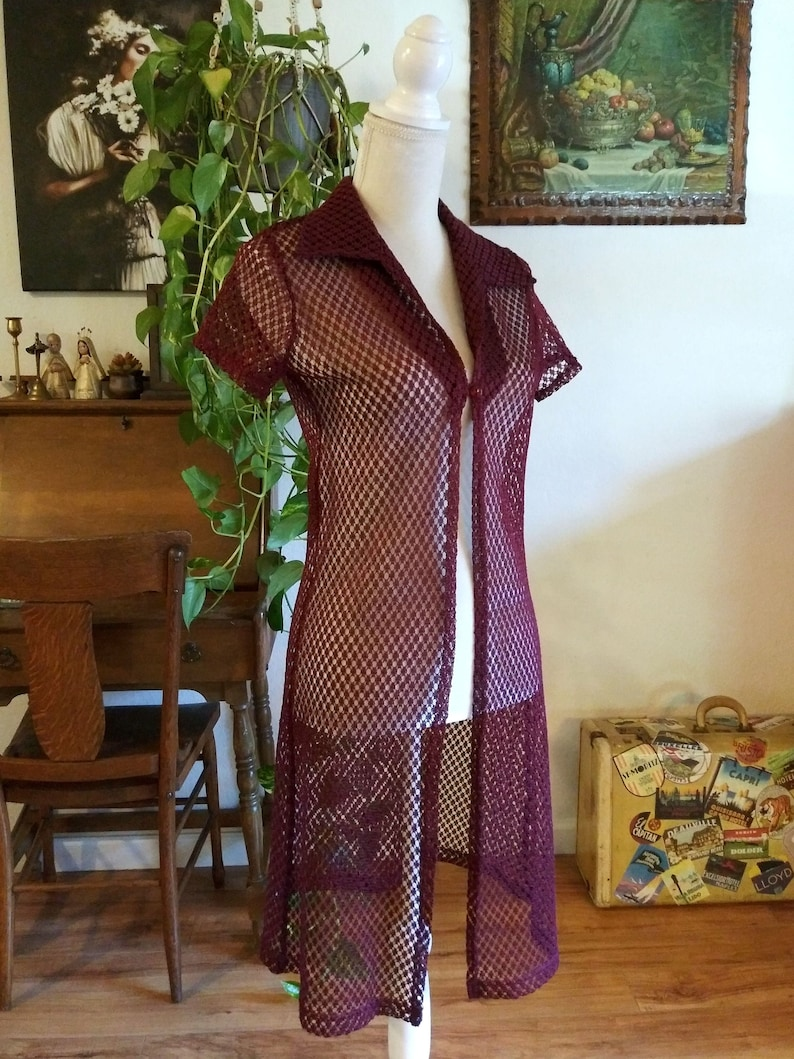 90s Collared Button Front Crochet Dress See Through Cover Up image 0