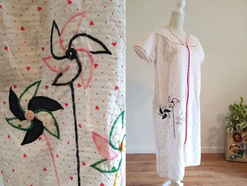 Embroidered Pinwheel Robe Heart Print Mumu image 0