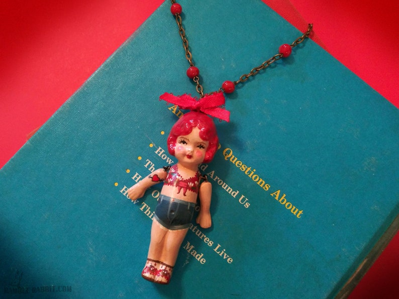 Handmade Kewpie Necklace Rosary Chain Large Doll Pendant image 0