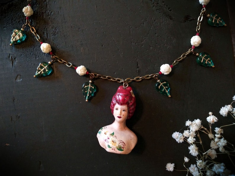 Hand Painted Porcelain Doll Necklace Red Head Bisque image 0