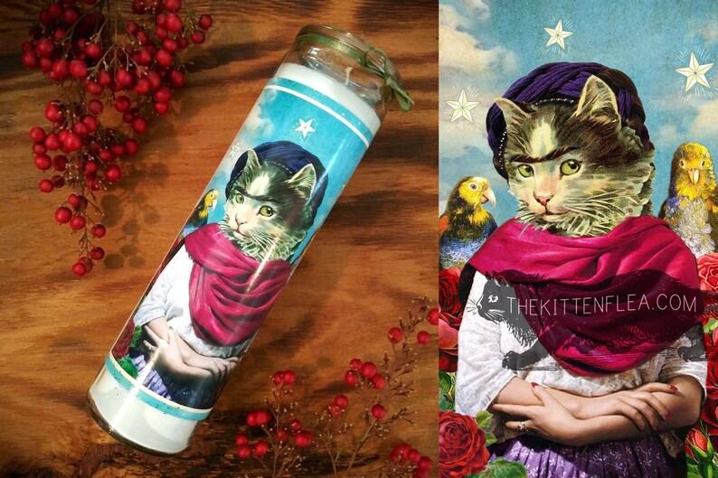 Frida Katlo Prayer Candle Frida Kahlo Candle Pet Cat Lover image 0