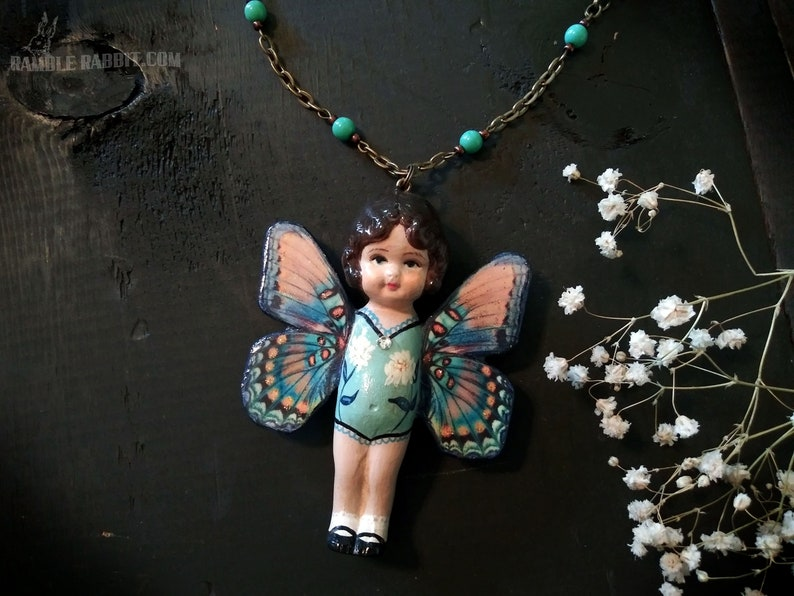 Handmade Butterfly Kewpie Necklace Blue Fairy Hand Cast image 0
