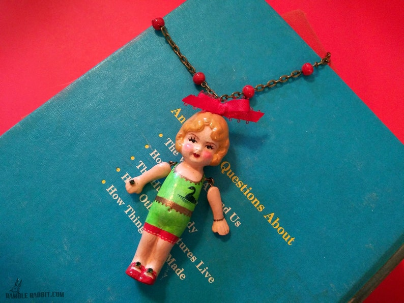 Handmade Kewpie Necklace Art Deco Flapper Swan Bathing Suit image 0