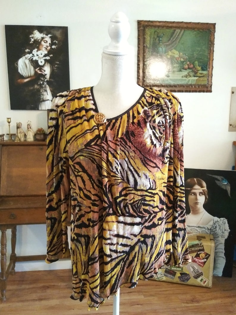 80s Tiger Blouse by Virginie Paris Overstated Shoulders image 0