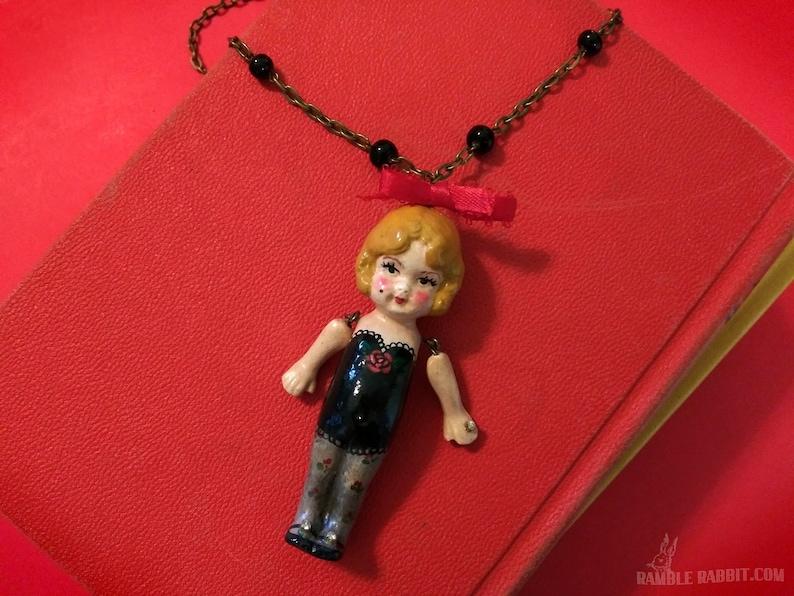 Handmade Kewpie Doll Necklace Hand Cast Doll Art on Rosary image 0