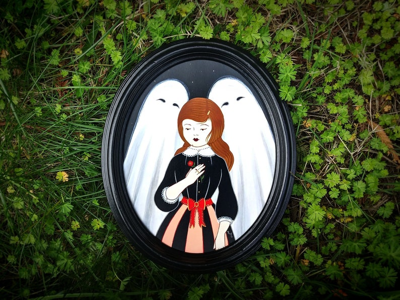 Girl & Ghosts Original Framed Painting Spooky Cute Gothic image 0