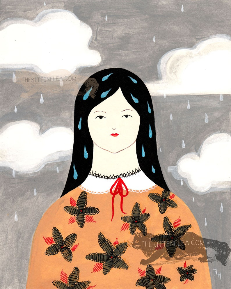 Lachrymal Clouds Original Framed Painting Rustic Modern Folk image 0