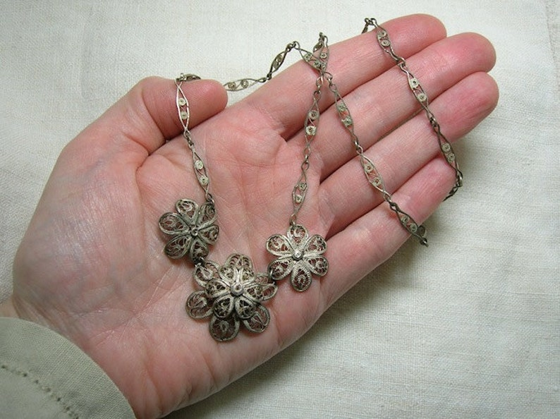 Roses Flowers Mexican or Russian? Gorgeous and Old Sterling Filigree Necklace