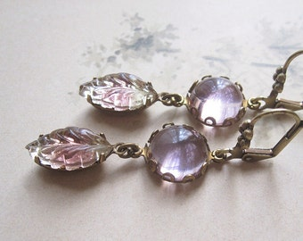 Lavender Rhinestone Earrings / Magic Leaves / Vintage Assemblage Earrings / Boho Chic / Mori Girl