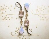 Rhinestone and Star Earrings / Romantic Blush Pink Opalescent Jewelry / Vintage Rhinestone Assemblage Earrings / Boho Chic