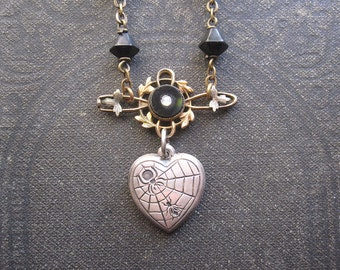 Gothic Heart Assemblage Necklace / Repurposed Vintage Jewelry / OOAK / Dark Mori