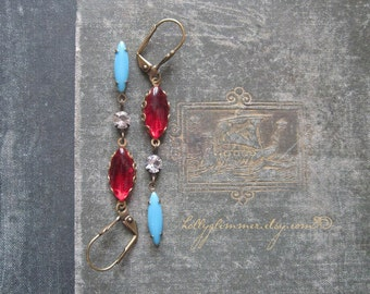 Red Jewel Earrings / Vintage Rhinestone Assemblage Jewelry / Boho Chic / Festive Jewelry