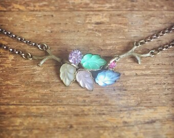 Jeweled Forest Choker Necklace / Magical Fairy Tale Jewelry / Vintage Repurposed Jewelry / Mori Girl