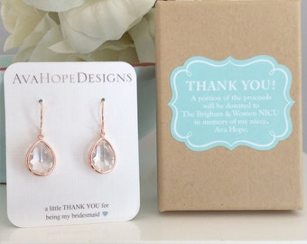 Rose Gold Earrings wedding jewelry Bridesmaid Earrings Rose gold earrings, Rose Gold Wedding Best friend gifts wedding gifts, birthday gift