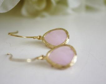 Opal Earrings, Blush Pink Wedding, Gold Earrings, Blush Earrings, Blush Bridesmaid, Bridesmaid Earrings, Gifts for Her, Best Friend Gifts